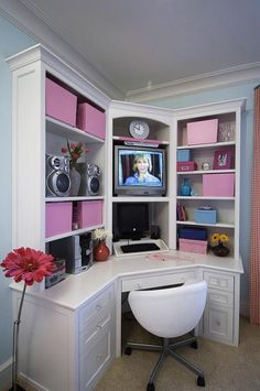 Teen Bedroom Desks : Awesome Corner White Desk For Teenage Bedroom Designed As TV Cabinet And Pink Box Storage Also White Swivel Chair On The Brown Rug Floor