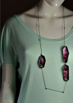 Necklace Enamel copper steel by SteffiGoetze on Etsy 79€