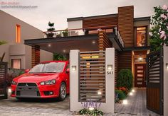 This is a two storey Contemporary house design which speaks elegance and sophistication considering the attention paid in the exterior details and choice of materials used in the construction of the building. This design truly illustrates [. Style At Home, Philippines House Design, Double Storey House, Philippine Houses, House Entrance, Facade House, Home Design Plans, House Layouts, Minimalist Home