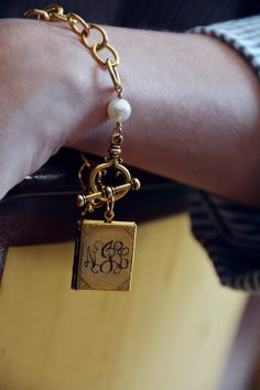 Gold Locket Bracelet with Pearl Featured in Southern Living