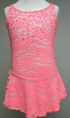Coral lace over pale pink create a soft, feminine, elegant look on the ice, by Sk8 Gr8 Designs on Etsy
