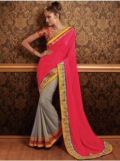 Light Pink Georgette Saree With Resham Work