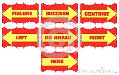 Image with some arrows on a red background with different signs. An image to project on motivation, signs or other.