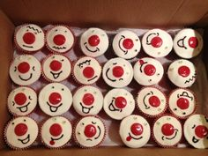 Red nose day cupcakes Red Nose Day Cupcakes, Fancy Cupcakes, Wedding Cupcakes, Sport Relief Cupcakes, Toddler Meals, Toddler Recipes, Red Velvet Cake Mix, Cupcake Images, Red Day