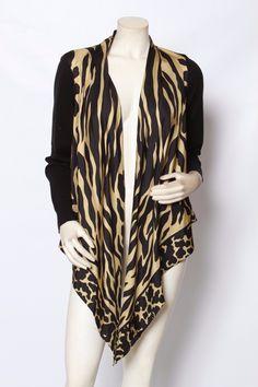 RONDINA Etcetera Black Animal Print Scarf Front Cardign Sweater Sz XS L $295 NWT