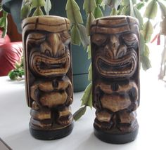 Sale Vintage TIKI SALT and PEPPER Ceramic by AGsAtticTreasures