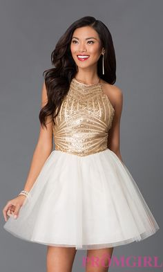 Image of short ivory skirt gold high neck open back fit and flare dress Style: MQ-8020563 Detail Image 1