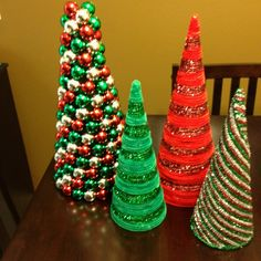 Ornament and pipe cleaner Christmas trees.