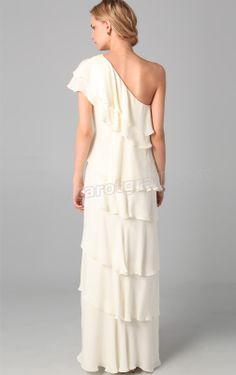 Column One Shoulder Floor-length Chiffon Evening Dress