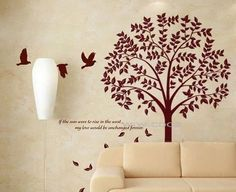 Autumn Tree -- 70.8inch Tall -- Wall Art wall decals tree natural birds Home Decors Murals Vinyl wall Decals wall Stickers