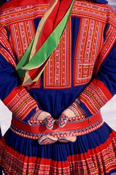 Norway | Decorative details on the back of a man's Sami tunic. Kautokeino | © Bryan & Cherry Alexander Photography