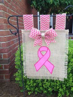Breast Cancer Awareness Burlap Garden Flag, Yard Flag, Pink Garden Flag, Hand-Painted, Chevron, Burlap Flag, Think Pink, Customized, Ribbon on Etsy, $20.00