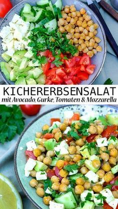 Rezept: Sommerlich frischer Kichererbsensalat mit Avocado, Salatgurke, Tomaten &… Recipe: Summery fresh chickpea salad with avocado, cucumber, tomatoes & mozzarella and lemon vinaigrette Veggie Recipes, Healthy Dinner Recipes, Salad Recipes, Tomate Mozzarella, Avocado Salat, Feta Salat, Lemon Vinaigrette, Chickpea Salad, Eat Smart