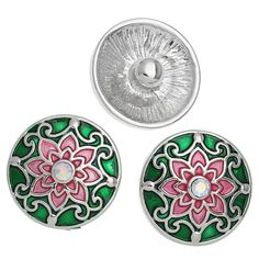 2014 New 5PCs Snap Buttons Fit Snap Bracelets Flower Red Green Rhinestone 20mm