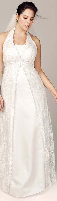 Read about plus size wedding dresses for women with apple body types (dress: David's Bridal)...... I've been an apple shape for 60 years and I've been married three times... If you have a big tummy, read my tips - in this article: http://www.boomerinas.com/2014/10/08/wedding-dresses-for-your-body-type-apple-shapes-plus-size-tummies/