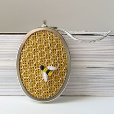 Bee Necklace on Honeycomb hand embroidered by bstudio on Etsy, $35.00