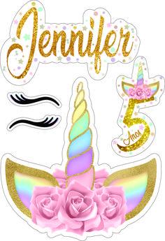 Birthday Cake Toppers, Cupcake Toppers, Bolo Super Man, Bolo Naruto, Elsa Cakes, Edible Printing, Unicorn Cake Topper, Free Stencils, Unicorn Party