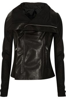 A Rick Owens leather biker jacket is your ticket to instant urban cool. Here, the label reworks its signature style with a trio of textures, giving it the most modern look. We love it worn after hours with a draped dress and ankle boots.