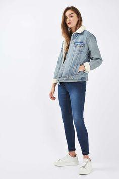 Veste ample en jean et peau lainée MOTO