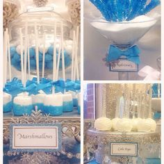 Winter Wonderland birthday party treats! See more party planning ideas at CatchMyParty.com!