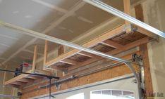 How to build overhead garage storage shelves.