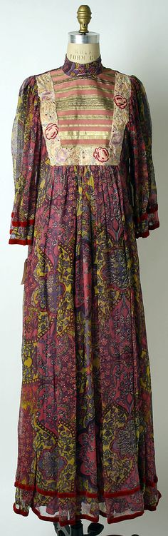 Print silk and rayon evening dress, by Thea Porter, British, ca. 1969.