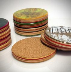 Set of 4 Recycled Skateboard Round Drink Coasters by scene3