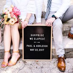 There's something so magical about an elopement. Love this announcement on a Letterfolk board! Wedding Photo Fails, Wedding Photo Booth Props, Funny Wedding Photos, Wedding Pics, Wedding Advice, Elope Wedding, Dream Wedding, Wedding Day, Budget Wedding