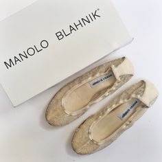 Manolo Blahnik   Togram lace ballet flat Manolo Blahnik. Gold Togram Flat Lace Ballet Sandal. 100% Authentic. NEW WITH TAGS, NEVER WORN.  Nude lace with leather trim. Leather sole. Made in Italy. Size 38. New in box with dustbag. Manolo Blahnik Shoes