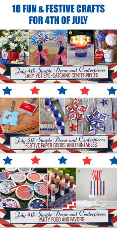 Simple and festive crafts for planning a fun-filled 4th of July celebration. See all the fab finds at:   http://www.bellenza.com/party-ideas/party-crafts/simple-diys-making-july-4th-table-decorations-centerpieces  #july4crafts #july4decorations #july4partyideas