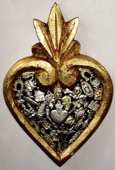 Mexican painted wood sacred heart | Arte Popular, México; Mexican traditional art
