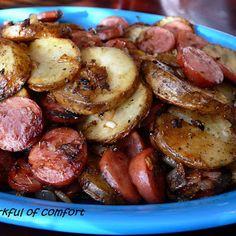 Sausage and Potatoes. Momma always told me this was a poor mans dinner. And to cook it for my husband when you have no money! This is one of my ultimate comfort foods!