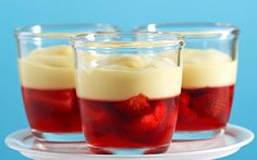 Strawberry and custard jelly cups