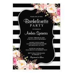 Floral Black And White Stripe Bachelorette Party Invitation