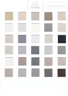 Autentico paint - The Greys and Earths. My personal favourite from this color chart is French grey at The Crafty Nest UK Official stockist and workshop of Autentico Chalk Paint alicia@craftynest.co.uk or www.craftynest.co.uk