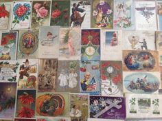 Nice-Vintage-Antique-Lot-of-1900s-Holiday-Greetings-Postcards-100-Cards-sss-72