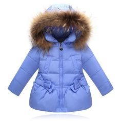 Kids Girls Duck Down Jacket Winter Warm fashion Fur collar Outwear Coat Outdoor Coats, Duck Down Jacket, Down Parka, Warm Coat, Kids Girls, Kids Outfits, Winter Jackets, Clothes, Princesa Real