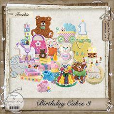 "Free scrapbook elements  ""Birthday cakes 3"" from Cajoline scrap"