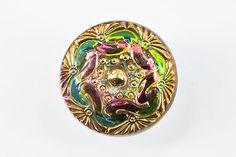 B0796A-Czech Glass Button-Gold Green-(1)-$4.50