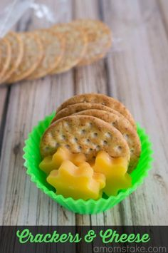 Crackers and Cheese from A Mom's Take.  Easy snack ideas for the kids this summer!