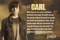 """Which Walking Dead character are you?-Carl I seriously saw it and laughed. then I read it and I was like, """"wow that is spot on."""""""