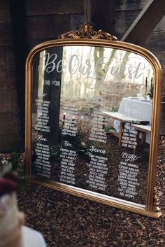"""A mirrored seating chart that says, """"Be Our Guest"""" is fit for any occasion, be it woodsy and rustic or elegant and luxurious. wedding seating chart Beauty And The Beast-Inspired Details For A Fairy Tale Wedding Wedding Themes, Wedding Tips, Wedding Details, Wedding Planning, Wedding Decorations, Crafty Wedding Ideas, Wedding Colors, Disney Wedding Centerpieces, Bridal Tips"""