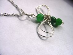 Dragon Fly Pendant Wire Wrapped Green Aveneturine semi precious stones, wire wrapped design by CherylsHealingGems, $19.00