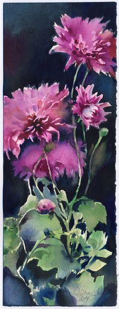 Chrysanthemums on a black background by OlgaSternik on DeviantArt