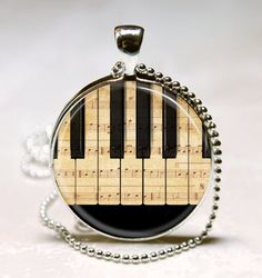 Piano Necklace Sheet Music Jewelry Black by MissingPiecesStudio, $9.95