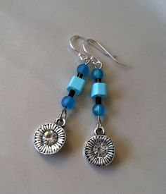 Earrings,Classy Sterling Silver Sparkle Flower Dangle Earrings with Blue/Turquoise Glass Beads and Flower Charm, French Hook Style Ear Wires...