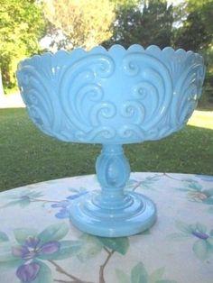 SCARCE-1850-80-ATTERBURY-SCROLL-BLUE-MILK-GLASS-COMPOTE-IMPRESSIVE-STEM-DESIGN