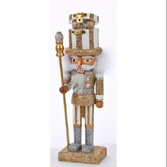"""10"""" Hollywood Silver and Gold Striped with Scepter Wooden Christmas Nutcracker"""