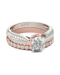 Check this out from jeulia! Jeulia Two Tone Milgrain Round Cut Sterling Silver Ring Set Engagement Rings Couple, Deco Engagement Ring, Engagement Ring Settings, Vintage Engagement Rings, Alternative Wedding Rings, Wedding Rings Rose Gold, Gold Wedding, Mens Silver Rings, Groomsmen