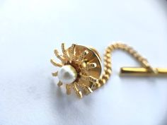 1950s Sunburst Tie Tack Vintage 1950s Faux Pearl Tie Tack Gold Tone Setting Tie Pin Up Mud Century Men's Fashion Vintage Men's Jewelry by transmigration on Etsy